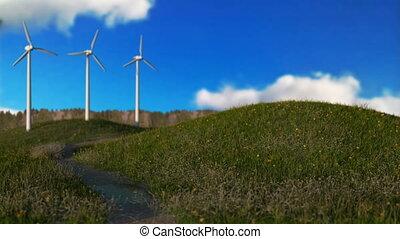 wind generators on meadow,green energy concept, seamless loop - 3D render