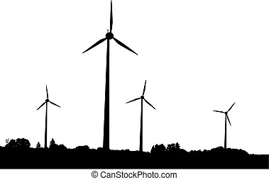 Vector silhouette of windturbines producing environment friendly energy