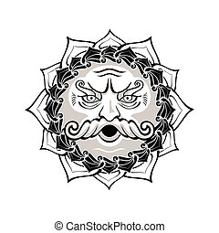 Wind god - Powerful wind god blowing decorated contour...