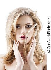 wind, hairstyle, lens, beide, beauty, classieke, vliegen, jonge, gezicht, haar, sexy, fototoestel, blik, handen, voorkant, verticaal, meisje, heeft, zij