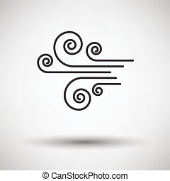 Wind icon on gray background with round shadow. Vector illustration.
