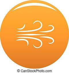 Wind icon vector orange