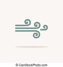 Wind. Icon with shadow on a beige background. Weather vector illustration