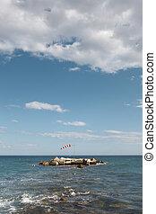 Wind indicator in mediterranean coastline. Alicante, Spain