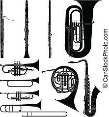 Wind Instruments - Layered vector illustration of collected...
