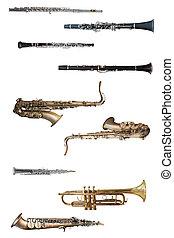 wind instruments under the white background