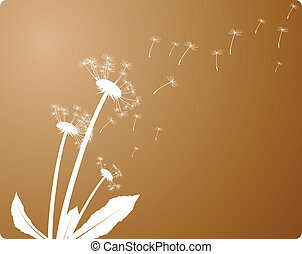 Wind is blowing. - Wind and dandelion. Vector illustration.