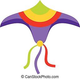Wind kite icon, flat style