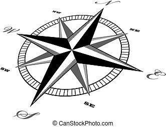 wind, kompas, retro, vector, ontwerp, roos