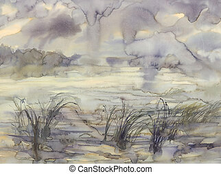 Wind landscape with clouds watercolor
