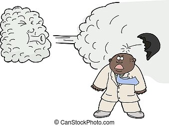 Wind Lifts a Toupee - Anthropomorphic cloud blowing off...