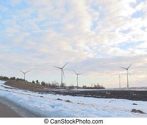 wind mill clouds sun flow