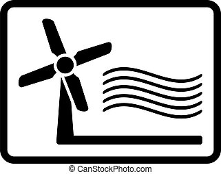 wind mill icon - black icon with isolated wind mill symbol