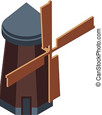 Wind mill icon, isometric style