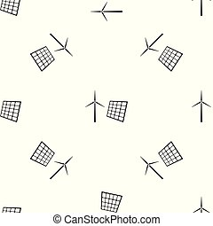 Wind mill turbines generating electricity and solar panel icon isolated seamless pattern on white background. Energy alternative, concept of renewable energy. Flat design. Vector Illustration