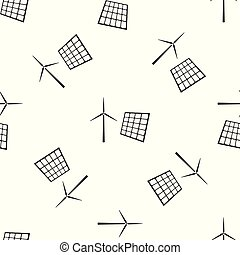 Wind mill turbines generating electricity and solar panel icon seamless pattern on white background. Energy alternative, concept of renewable energy. Flat design. Vector Illustration
