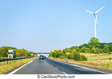 Wind mills and highway road in South Moravia