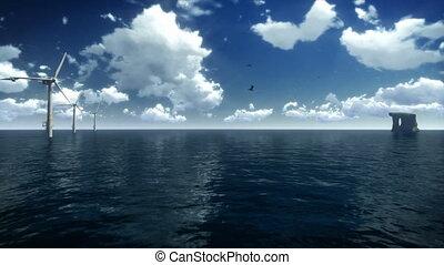 Wind Mills and Seagulls across sea