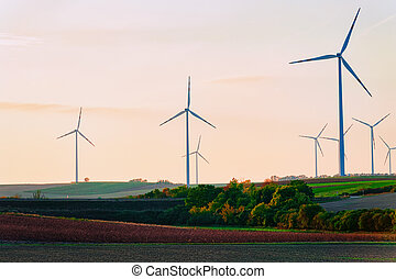 Wind mills at South Moravia sunset
