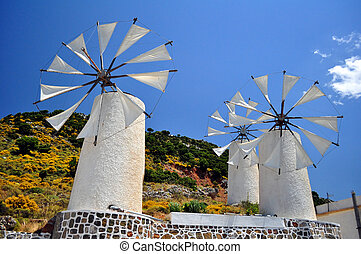 Wind mills in Crete - Travel photography: traditional wind ...