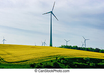 Wind mills in South Moravia Czech Republic
