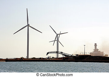 wind mills on the dimension of Fos-sur-Mer