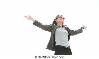 Wind of change - Smiling business woman enjoying the wind of...