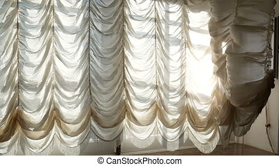 Wind old window moving - Wind blowing through the curtains...