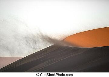 Wind on sand dunes