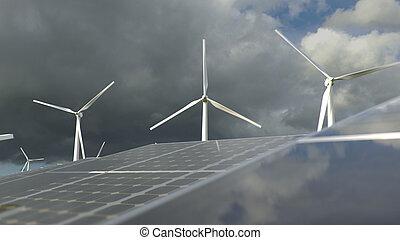 wind, pflanze, ausschüsse, solarstrom