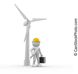 Wind-power - 3d people - human character, person with...