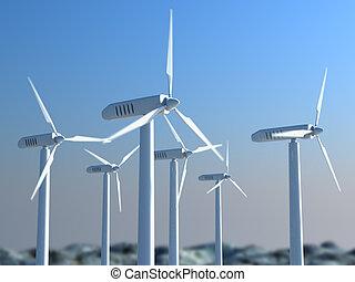 Wind power - 3d wind turbines on the skyline