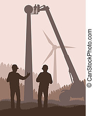 Wind power alternative green energy vector for poster