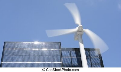 Wind power and solar panel - Turning to wind power generator...
