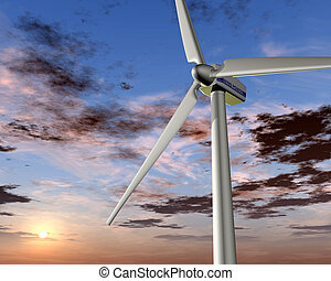 Wind power at sunrise - Illustration of a wind turbine with...