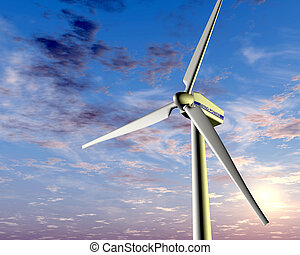Wind power at sunset - Illustration of a wind turbine with a...