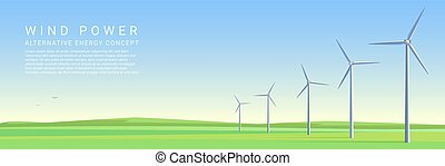 Wind power energy turbines on a green meadow vector concept header poster.