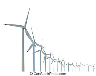 Wind power farm against white background - Power generation wind turbines - alternative energy 3d concept