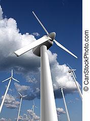 Wind power farm closeup