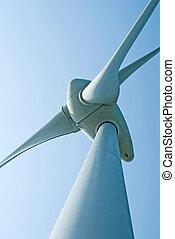 Wind power generation machine under blue sky