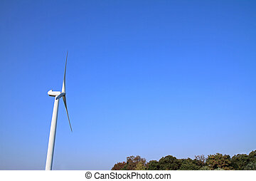 wind power generation under the blue sky