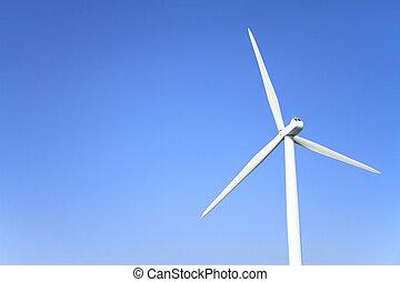wind power generation under the blue sky