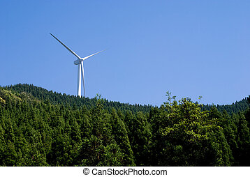 Wind power generator in the coniferous forest