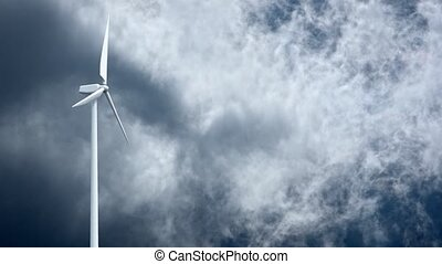 Wind power generators on sky background. 4K