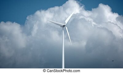Wind power generators on sky background. 4K 3d rendering