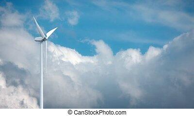 Wind power generators on sky background. 4K