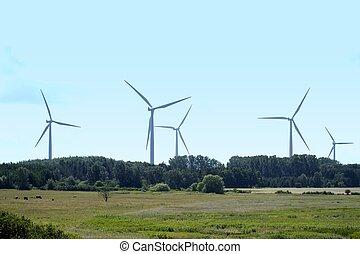 Wind power generators on blue sky