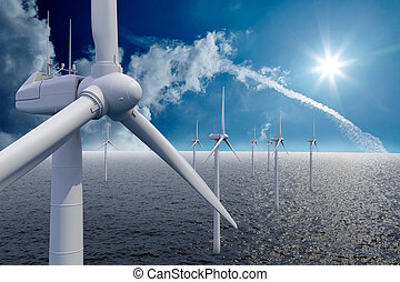 Wind power offshore with clouds and sun