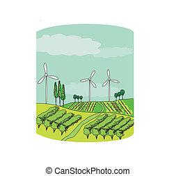 Wind power on a green meadow