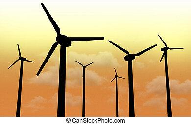 Wind power park nighttime